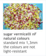 sugar vermicelli nF natural colours standard mix 1,3mm the colours are not light-resistant