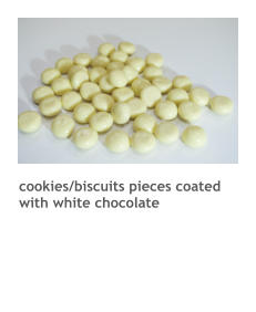 cookies/biscuits pieces coated with white chocolate